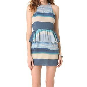 Charlotte Ronson Ocean Print Silk Peplum Dress